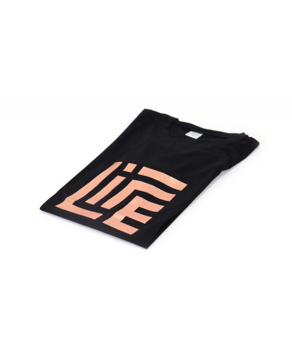 Black Round Neck LIFE T-SHIRT